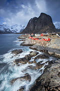 View over fishing village of Hamnoya, Lofoten, Norway. March 2015. - Peter Cairns