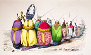 Lithograph comparing beetles to high ranking church members in bright robes. Published in 1842, Paris for 'Scenes de la vie privee et publique des animaux' by Jean Ignace Isidore Gerard - Paul  D Stewart