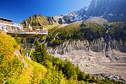 Balcony cafe over looking The Mer De Glace which has thinned 150 meters since 1820, and retreated by 2300 Metres, with a balcony cafe overlooking the rapidly shrinking glacier. Chamonix, France, Septe... - Ashley Cooper