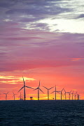 The Walney Offshore windfarm project, at sunset. Off Barrow in Furness, Cumbria, UK, July 2011 - Ashley Cooper