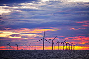 The Walney Offshore windfarm project, off Barrow in Furness, Cumbria, UK, at sunset. July 2011 - Ashley Cooper