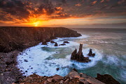 Sea stacks at sunset, Mangurstadh beach, Aird Feinis, Isle of Lewis, Outer Hebrides, Scotland, UK. March 2014. - Guy Edwardes