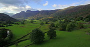 Aerial shot tracking along Borrowdale Valley, looking towards Stonethwaite Beck and the Langstrath Valley, Lake District, Cumbria, England, UK, October 2016. (This image may be licensed either as righ... - Gavin Hellier