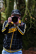 Photographer Oliver Hellowell with camera, England, UK. February 2015  -  Oliver Hellowell