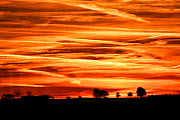 Sunset over the fields, Blackdown hills, Somerset, England, UK. October.  -  Oliver Hellowell
