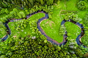 Meandering Loobu River with surrounding meadows and woodlands, aerial view. Lahemaa National Park in Northern Estonia in Laane-Virumaa, Estonia. May 2017.  -  Sven  Zacek