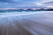 Luskentye beach, mountains and incoming tide, Isle of Lewis and Harris, Outer Hebrides, Scotland, UK. October 2018. - Ross Hoddinott