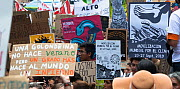 Protestors with placards during 'Fridays for the Future' climate change protest. Paseo de la Reforma Avenue, Mexico City, Mexico. September 2019.  -  Patricio Robles Gil