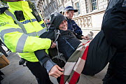 Police carrying woman protestor away from Extinction Rebellion climate change protest. London, England, UK. October 2019.  -  Jo-Anne McArthur / We Animals