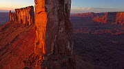Aerial shot of Castleton Tower at sunset, Castle Valley, Moab, Utah, USA, 2018.  -  Fred  Olivier