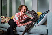 ?Glenys Oogjes, CEO of Animals Australia - one of Australia's most experienced animal advocates - with �Blue the Grey', a rescued greyhound, ??March 2017, ?Animals Australia Office, North Melbourn...  -  Doug Gimesy
