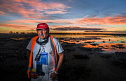 Laurie Levy, Head of the Coalition Against Duck Shooting, standing on the shoreline of the Kerang Wetlands, Victoria, Australia, to protest the start of another duck hunting season. Concerned about th...  -  Doug Gimesy