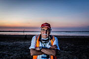 Portrait of Laurie Levy, Head of the Coalition Against Duck Shooting, standing on the shoreline of the Kerang Wetlands, Victoria, Australia, to protest the start of another duck hunting season. Concer...  -  Doug Gimesy