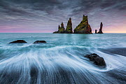 Reynisdrangur stacks with long exposure of waves,, Vik i Myrdal, Iceland, September 2015.  -  Guy Edwardes