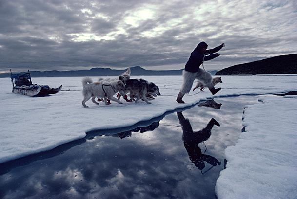 Inuit hunter jumping lead