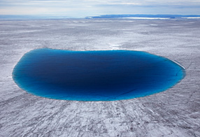 Meltwater pool on icecap, Greenland