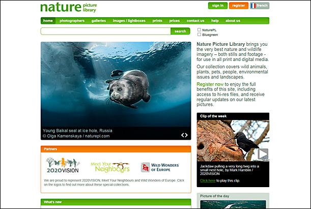 New naturepl.com homepage
